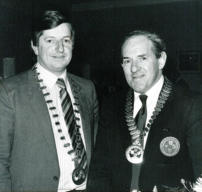 Ernie Callaghan, President Motorcycle Union of Ireland 1983 and Gerry Martin, President Motorcycle Union of Ireland Southern Centre 1983